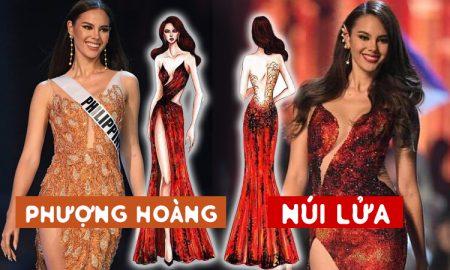 Đầm dạ hội của tân Hoa hậu Hoàn vũ 2018 lấy ý tưởng từ núi lửa và phượng hoàng