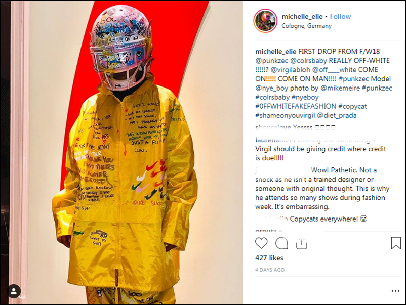 Tiếp sau đó, Michelle Elie lại đăng một bức ảnh người mẫu khác đang mặc trên người thiết kế của Punk Zec vào năm 2018, với phụ kiện là mũ bảo hiểm cũng được vẽ graffiti.