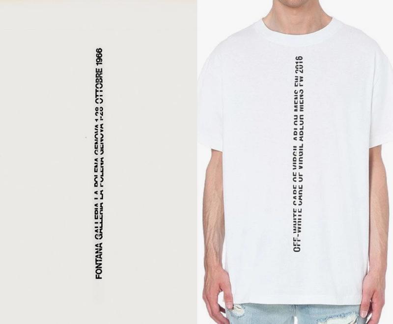 """Dòng chữ """"""""Fontana Galleria La Polena Genova 1-28 Ottobre 1966"""" là tác phẩm của nhà thiết kế đồ họa Lucio Fontana từ năm 1966 (trái). Và cư dân mạng cho rằng NTK Virgil Abloh đã vay mượn ý tưởng từ thiết kế này để sáng tạo cho trang phục của anh, chỉ đơn giản là thay đổi dòng chữ thành """"Off-White care of Virgil Abloh Mens FW 2016""""."""