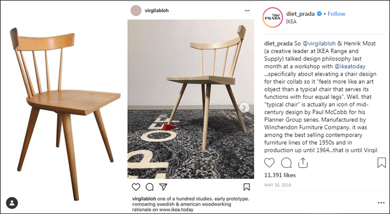 """Mẫu ghế này xuất phát từ ý tưởng của nhà thiết kế nội thất Paul McCobb. Sau đó, nó được công ty Winchendon đưa vào sản xuất và trở thành sản phẩm bán chạy nhất trong những năm 1950, cũng như được duy trì sản xuất đến tận năm 1964 (trái). Riêng mẫu ghế mà Virgil Abloh cho rằng """"mang lại cảm giác là một tác phẩm nghệ thuật hơn là một chiếc ghế đơn thuần với 4 chân bằng nhau"""" thực ra chỉ giống như một bản sửa đổi khi thêm một thỏi chèn cửa vào một chân ghế."""