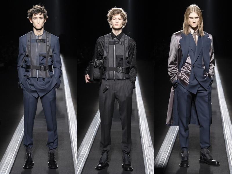 """NTK Kim Jones đã mang đến các bộ suit quen mắt với """"bộ giáp"""" mà anh lấy ý tưởng từ những pho tượng ở thành phố Paris (Pháp). """"Khi chúng tôi khảo sát địa điểm dựng sàn diễn, tôi đã nhìn các pho tượng đặt quanh Paris và tất cả chúng đều mặc áo giáp. Tôi nghĩ sẽ như thế nào nếu mình có thể thêm thứ gì đó bên ngoài các bộ suit. Ý tưởng này hoàn toàn không có ngụ ý gì liên quan đến tình hình ở Paris hiện nay"""" - Giám đốc Sáng tạo của Dior Homme nói thêm."""