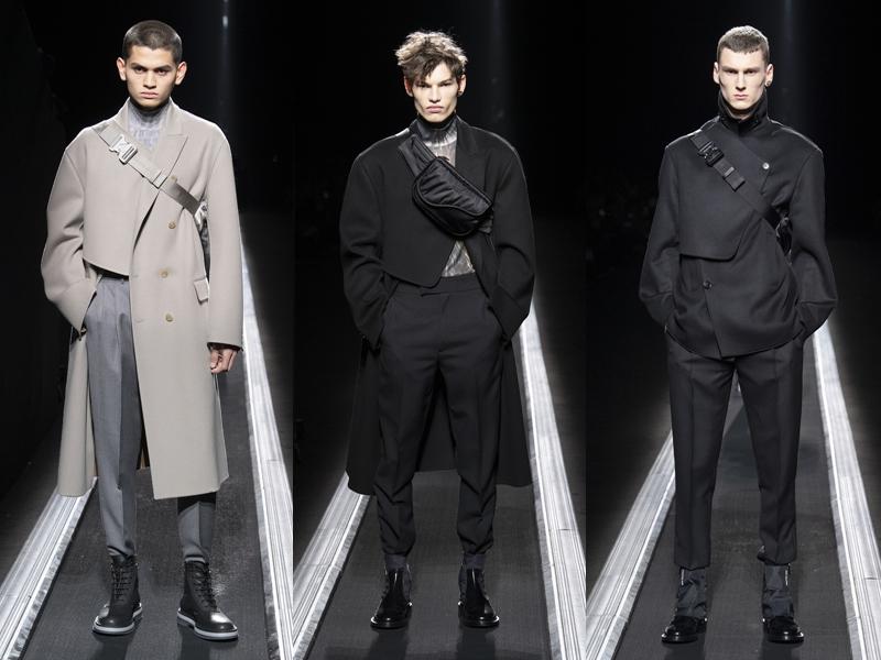 Áo choàng vạt lệch cũng là điểm nhấn thú vị trong BST lần này của Kim Jones. Không chỉ cài bằng khuy, vạt áo của các mẫu Oblique jacket còn được bổ sung các đai đeo chéo.
