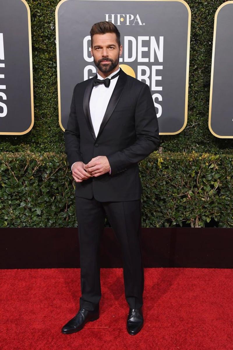 """Ricky Martin cũng có mặt tại Quả Cầu Vàng 2019. Trong năm 2018, anh đã tham gia phần mới của series phim """"American Crime Story"""" của đạo diễn Ryan Murphy về cái chết của NTK Gianni Versace."""
