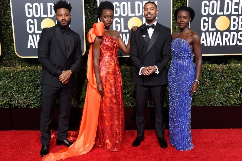 """Dàn diễn viên trong """"Black Panther"""" mang đến những sắc màu nổi bật trên thảm đỏ Quả Cầu Vàng 2019."""