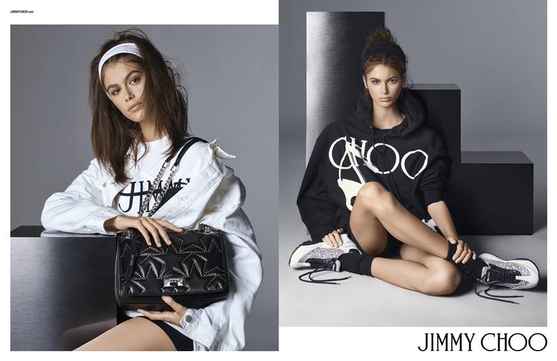 Kaia Gerber trong chiến dịch quảng cáo Xuân Hè 2019 của Jimmy Choo.