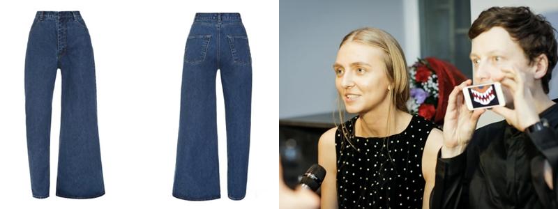 2 NTK đứng đằng sau mẫu quần jeans bất đối xứng này là Ksenia Marchenko (trái) và Anton Schnaider. Cả 2 NTK trẻ đã cùng nhau sáng lập ra Ksenia Schnaider. Hiện tại, thương hiệu đồ jeans này đã có hơn 70 cửa hàng trên khắp thế giới, với thế mạnh là kĩ thuật cắt ráp đầy sáng tạo trên những thiết kế chất liệu denim.