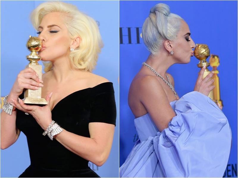 Lần đầu hay lần thứ hai đạt giải cứ hôn tượng vàng trước đã. Đây hẳn kiểu chụp kinh điển với tượng vàng của Lady Gaga.