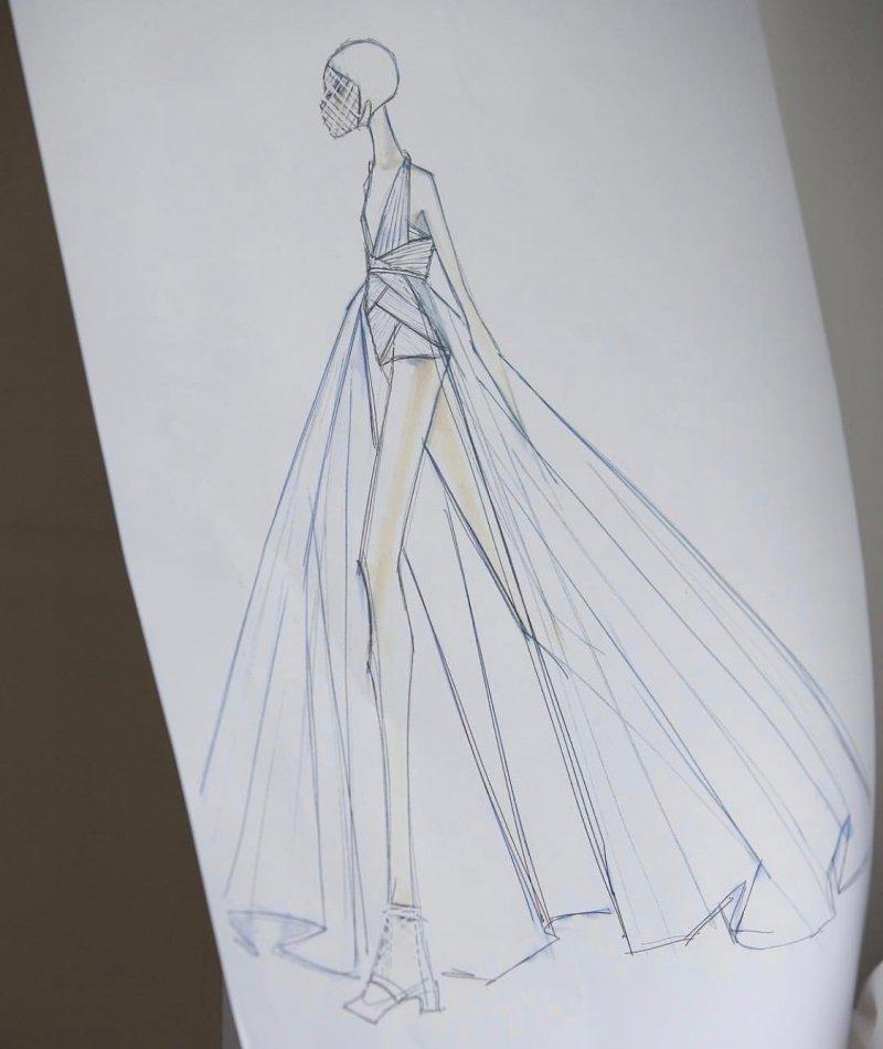 Bản vẽ thiết kế số 61 trong BST Haute Couture Xuân Hè 2019 của Dior.