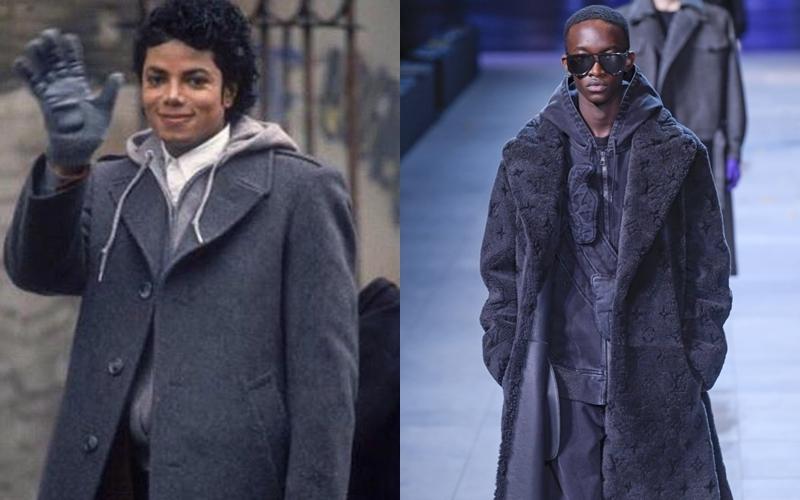 Kiểu phối layers trong BST lần này, với áo hoodie cộc tay ở trong cùng chiếc áo măng tô bên ngoài cũng là một trong những kiểu trang phục giữ ấm thường thấy ở Michael Jackson.