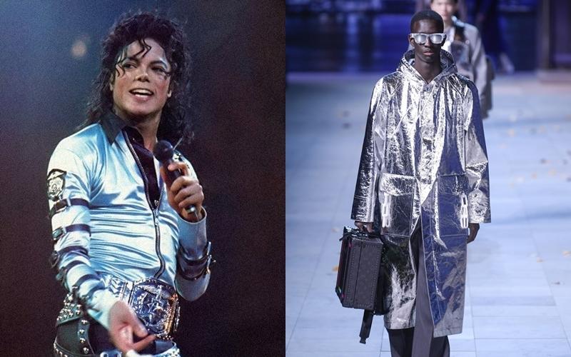 """Trong nhiều năm gần đây, metallic được xem là mốt """"đến hẹn lại lên"""" mỗi dịp Đông về. Một cách ngẫu nhiên, Giám đốc Sáng tạo của Louis Vuitton đã biết cách tận dụng chúng trong BST mới của mình, khi đồng thời cũng nhắc nhớ đến hình ảnh những thiết kế ánh kim đã đồng hành cùng Michael Jackson trên những sân khấu lớn trong suốt thập niên 80."""
