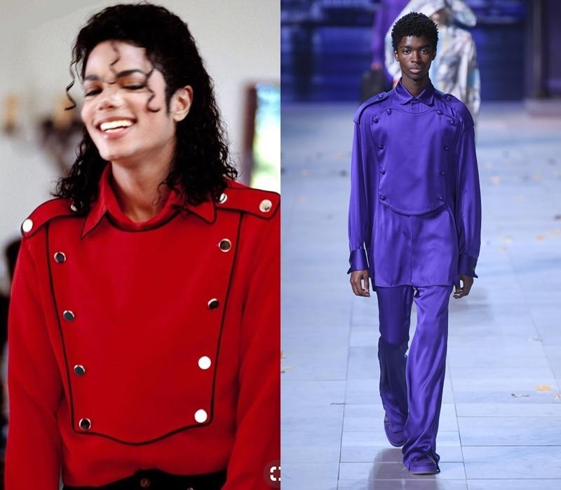 Thiết kế đính đinh tán của Michael Jackson được tái hiện lại bằng tông màu xanh tím.
