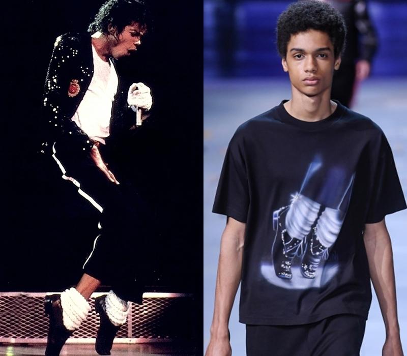 Bên cạnh đó, những khoảnh khắc đáng nhớ của Michael Jackson trên sân khấu cũng được tái hiện lại trên thiết kế của Louis Vuitton. Điển hình nhất là mẫu áo thun in động tác nhảy kiễng chân đã trở thành huyền thoại mà người ta không thể quên mỗi khi nhắc về ông hoàng nhạc Pop.
