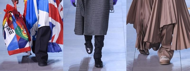 """Không còn xoay quanh những đôi sneaker Archlight """"cool ngầu"""", giày tây đế bệt mới chính là """"ông hoàng"""" thống trị của BST Thu Đông 2019 của Louis Vuitton. Đây cũng là một điều dễ hiểu, khi phong cách chủ đạo được truyền cảm hứng từ hình tượng của Michael Jackson - nam ca sĩ thường xuyên diện những đôi giày da đế bệt bóng bẩy trong các MV, cũng như khi trình diễn trên sân khấu."""