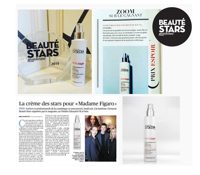 """Nỗ lực của Lysedia đã được đáp đền xứng đáng khi 2 lần nhận được giải thưởng cho sản phẩm được giới minh tinh yêu thích nhất – """"Beauté Stars"""" và xuất hiện trên nhiều tạp chí danh tiếng."""