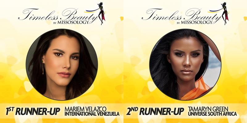 Vị trí thứ 2 thuộc về tân Hoa hậu Quốc tế 2018 Mariem Velazco đến từ Venezuela (trái). Vị trí thứ 3 là Tamaryn Green - đại diện của Nam Phi tại Miss Universe 2018.