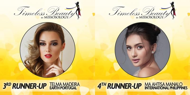 Vị trí thứ 4 thuộc về Telma Madeira - đại diện của Bồ Đào Nha tại Miss Earth 2018 (trái) và vị trí cuối cùng trong top 5 là Ma Ahtisa Manalo - đại diện của Philippines tại Miss International 2018.