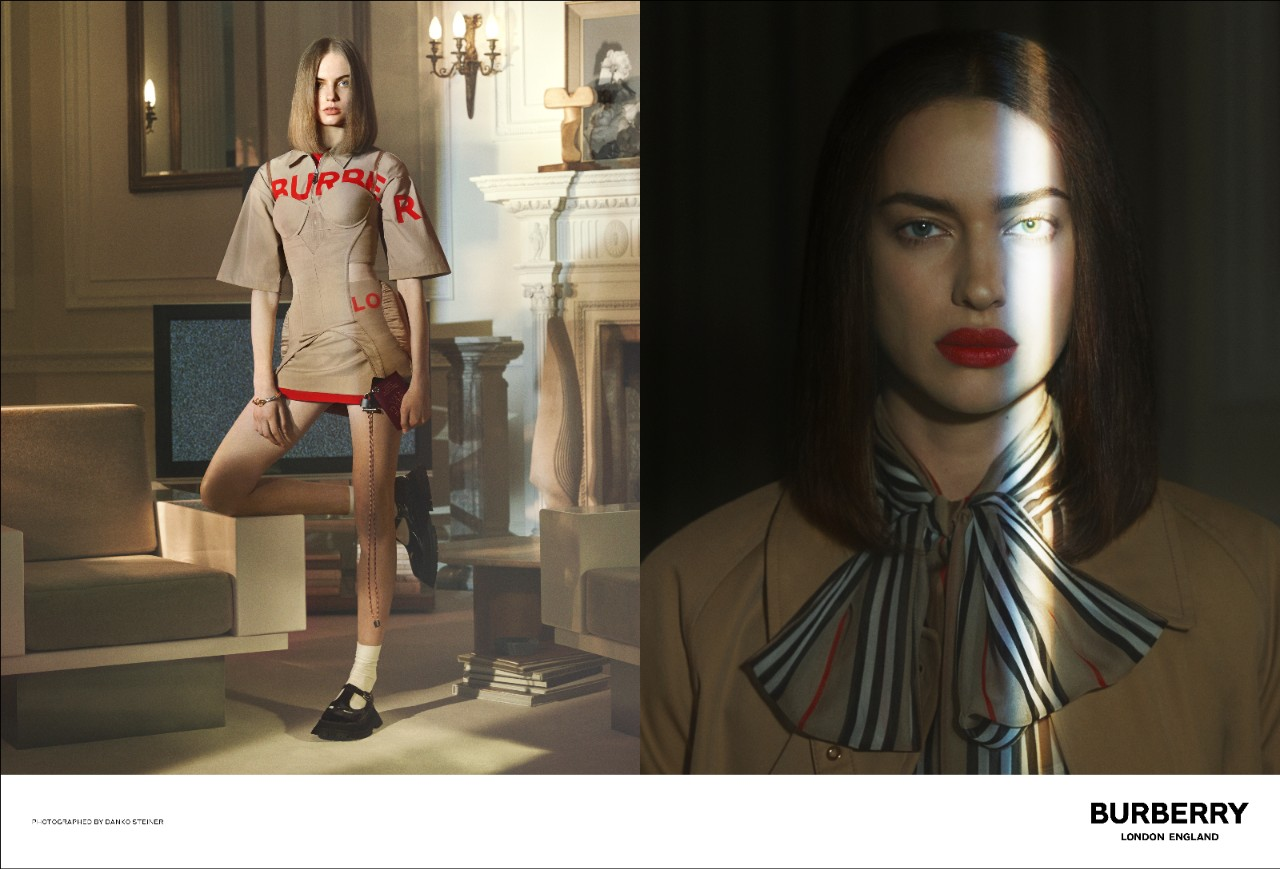 Irina Shayk (phải) là một gương mặt quen thuộc trong các thiết kế được sáng tạo bởi Riccardo Tisci.