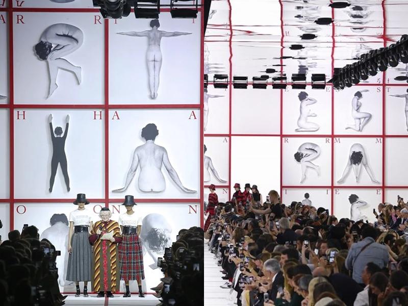 Để tô đậm thông điệp nữ quyền và hội chị em, Giám đốc Nghệ thuật của Dior đã mất 3 tuần để dựng căn lều rộng 1.350 mét vuông, được lắp bởi 280 khung gỗ, cùng với khoảng 1.5 tấn vật liệu polystyrene để tạo thành những chữ cái hình người được đặt trên các khung gỗ và logo Dior cao 2.5 mét ở bên ngoài.