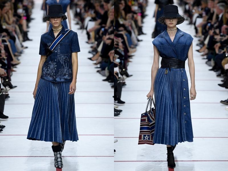 Bên cạnh đó còn có các thiết kế váy denim xếp pli.