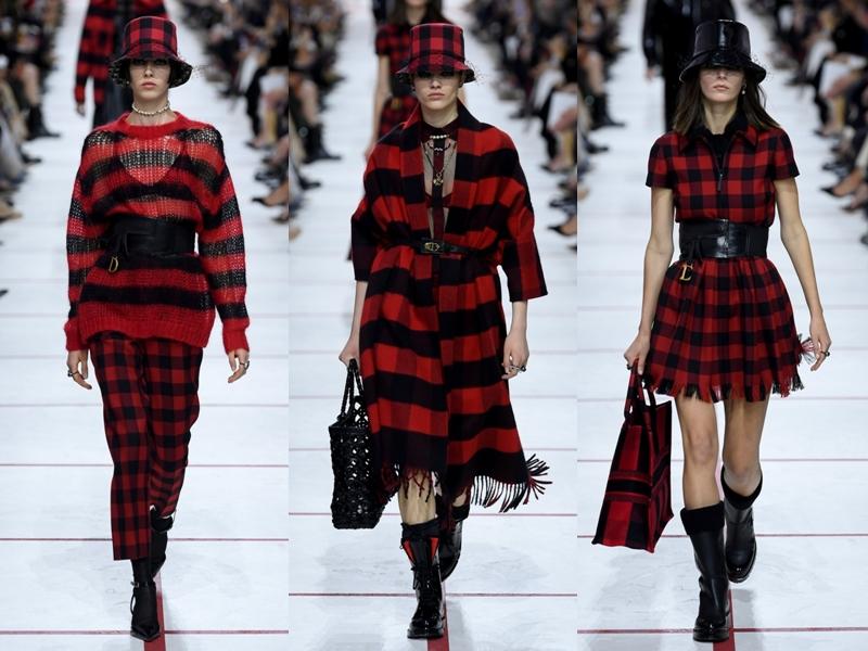 Phong cách kẻ caro với gam màu đỏ đen mang nét cổ điển từ thập niên trước nhưng được tái hiện trong các thiết kế mang đậm chất hiện đại bao gồm cả chất liệu xuyên thấu, kaki, len và vải tua rua.