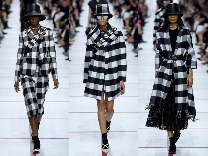 Tiếp nối là các thiết kế kẻ caro đen trắng như suits, áo trench coat, mũ bucket,...