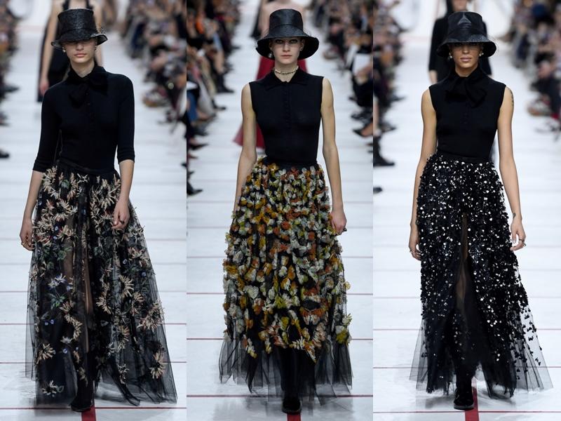 Chân váy vải tulle màu đen đính kết 3D được xem là điểm nhấn lãng mạn trong show diễn Dior mùa này.
