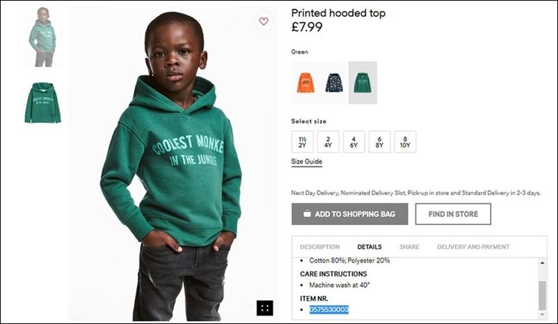 """Mẫu áo hoodie của H&M bị chỉ trích nặng nề vì cho một cậu bé da màu mặc với dòng chữ """"Chú khỉ ngầu nhất rừng xanh""""."""