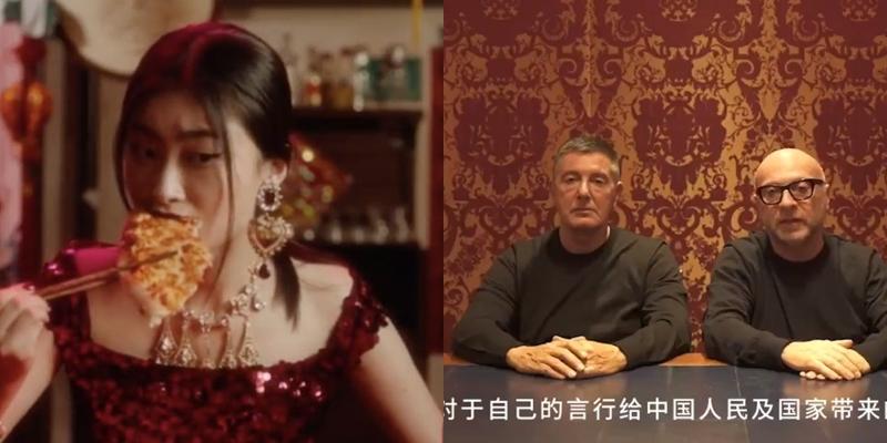 """Hình ảnh từ video trong chiến dịch quảng bá """"The Great Show"""" của Dolce & Gabbana được cho là xúc phạm văn hóa ẩm thực Trung Quốc (trái). Sau khi đưa ra cái cớ là bị hacker hại dù video đã nằm trên Instagram của D&G gần tròn 1 tuần và các tin nhắn khiếm nhã của Stefano Gabbana thì 2 nhà sáng lập đã phải đăng đàn xin lỗi. Tuy nhiên, lúc này mọi chuyện đã quá muộn màng."""