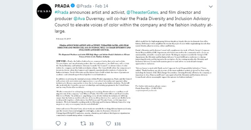 Theo đó, Prada cho biết sẽ bắt đầu liên kết với các trường đại học, cùng những tổ chức khác tạo điều kiện và cấp học bổng cho các sinh viên da màu có thể tham gia chương trình đào tạo của Hoa Kỳ, cũng như cơ hội việc làm tại văn phòng Prada trên toàn thế giới.