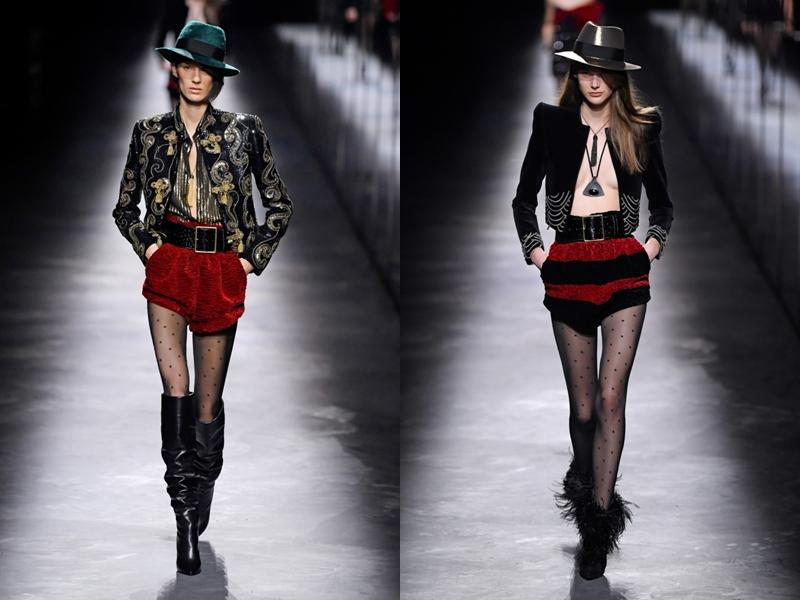 Các thiết kế mini-dress năng động kết hợp cùng áo khoác da với mốt ngực trần và boots lông mang hơi hướng miền viễn Tây.