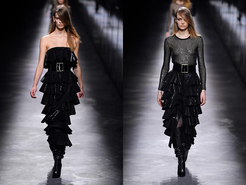 Kiểu chân váy bó sát, xếp tầng tạo nét uyển chuyển theo từng nhịp bước.