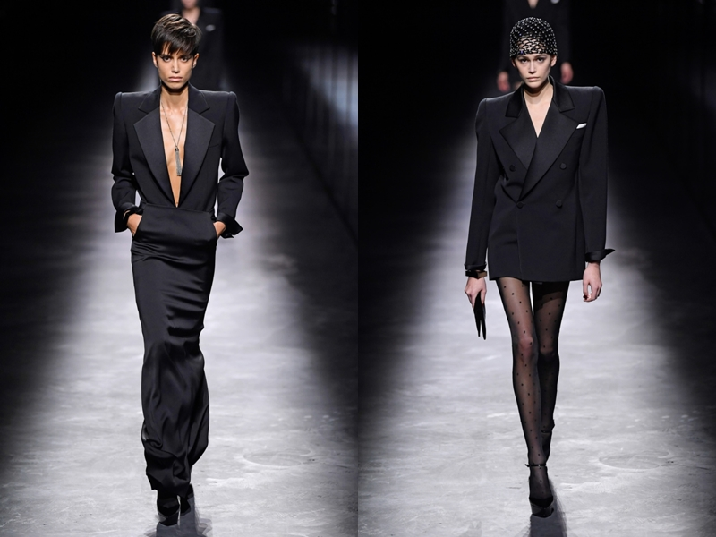 Từ blazer cá tính đến váy liền xẻ ngực gợi cảm đều được thiết kế theo phong cách nhấn nhá ở phần vai ngang bản rộng, với hàm ý giúp người phụ nữ trở nên quyền lực hơn.