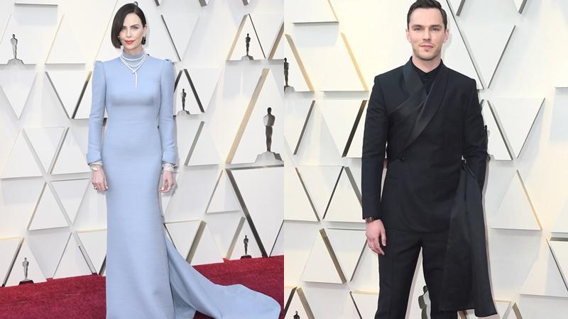 """""""Nam thanh nữ tú"""" nhà Dior: Charlize Theron và Nicholas Hoult tỏa sáng trên thảm đỏ Oscar 2019"""