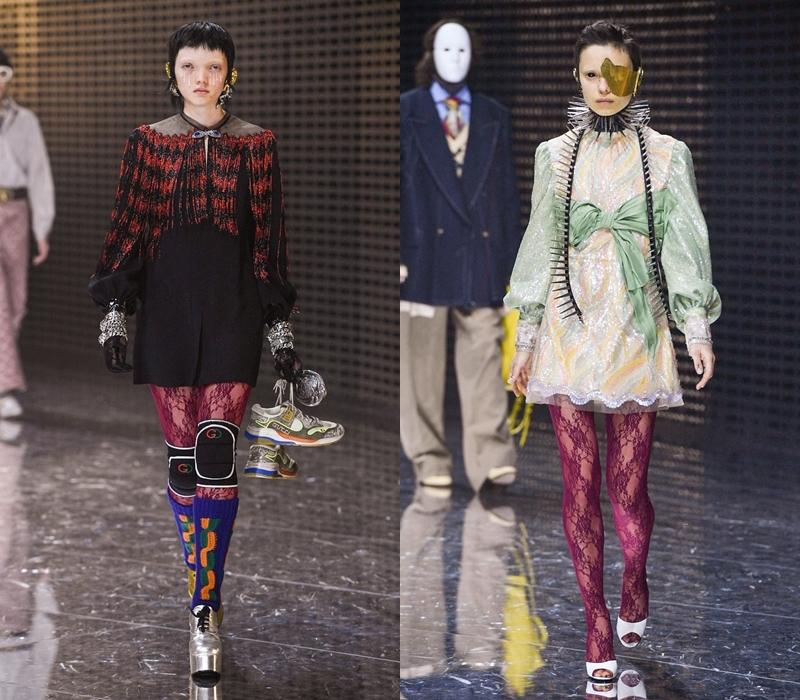 Lấp lánh, thướt tha và hết mực nữ tính, các thiết kế đầm mini phối cùng quần tất ren của Gucci luôn sở hữu cá tính riêng biệt, nổi bật giữa rất nhiều lựa chọn khác.