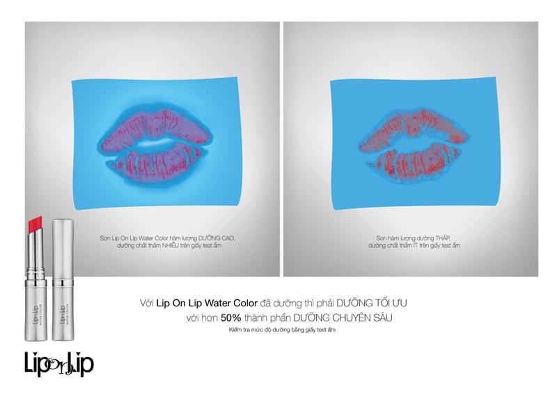 Thí nghiệm kiểm tra mức độ dưỡng trên giấy test ẩm cho thấy son Lip On Lip Water Color với hàm lượng dưỡng cao, dưỡng chất thấm ra giấy test ẩm nhiều hơn so với các loại son màu có dưỡng thông thường khác.