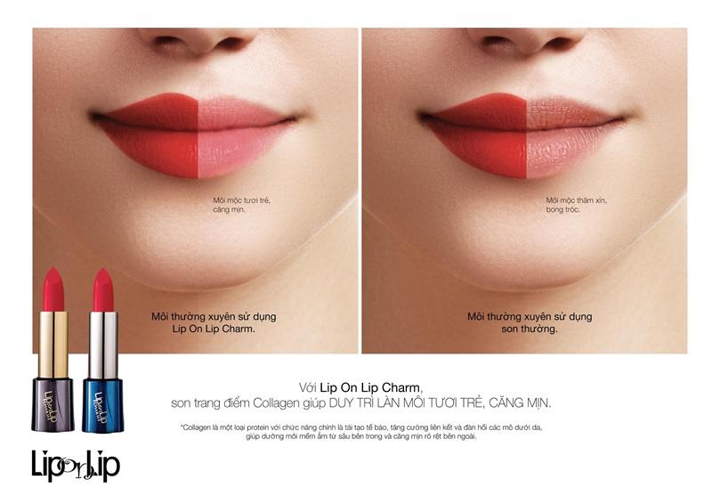 Lip On Lip Charm giữ nét tươi tắn cho làn môi nhờ collagen có trong son.