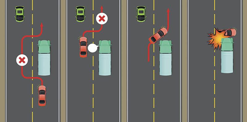Nguy hiểm khi vượt xe tải