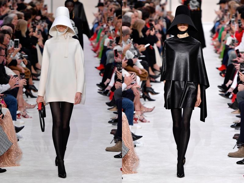 Ngoài ra còn có các bộ váy đơn sắc chỉ với 2 gam màu trắng, đen kết hợp cùng mũ trùm đầu.