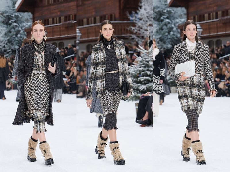 """Chân váy bút chì phối cùng quần lửng dáng ôm bằng vải tweed được """"lăng xê"""" triệt để trong BST lần này."""