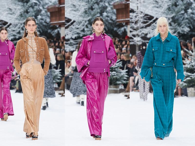 Màu sắc trong các thiết kế Thu Đông 2019 của Chanel mang đến nguồn cảm hứng mới mẻ giữa không gian tuyết phủ trắng xóa của sàn diễn.
