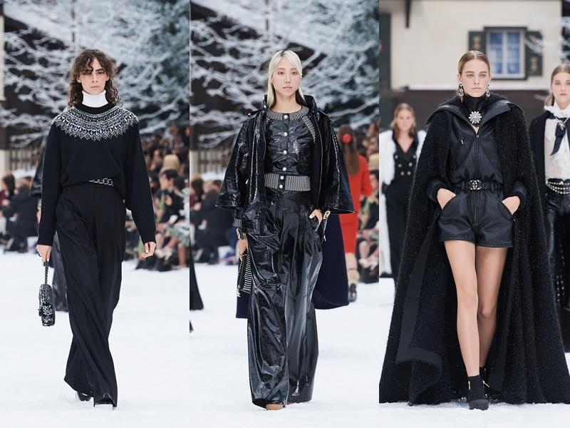 Tông màu đen gắn liền với nhà mốt Chanel được thể hiện đa dạng trên nhiều chất liệu như dệt kim, tweed, da thuộc, da bóng,...