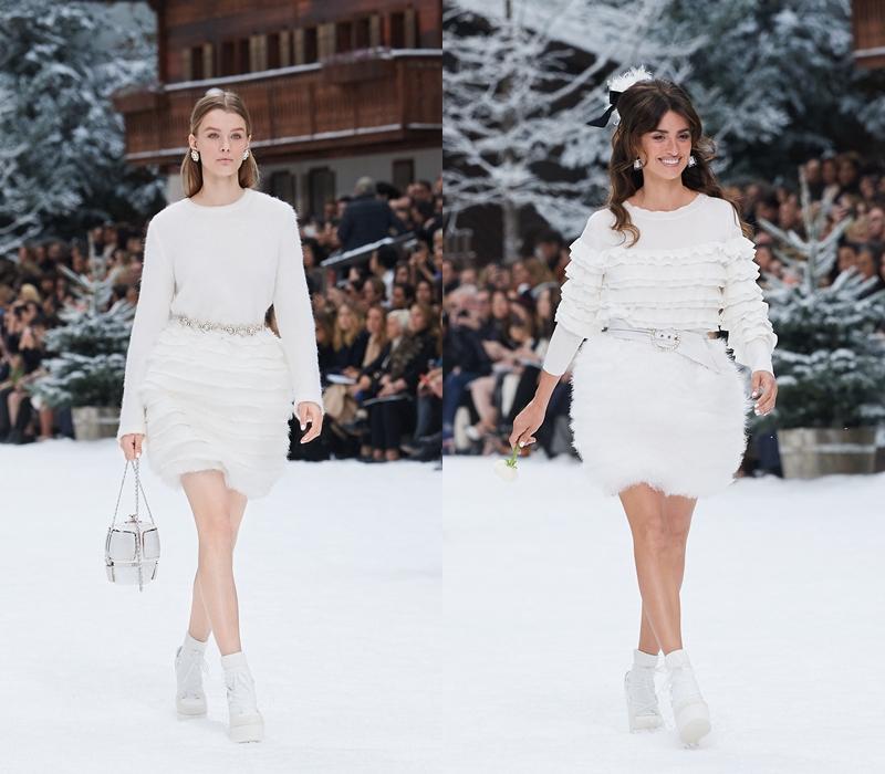 Nữ diễn viên Penelope Cruz (phải) - đại sứ thương hiệu của Chanel - bước trên sàn catwalk với một bông hoa trắng để tưởng nhớ NTK Karl Lagerfeld qua đời vào ngày 19/02 vừa qua.