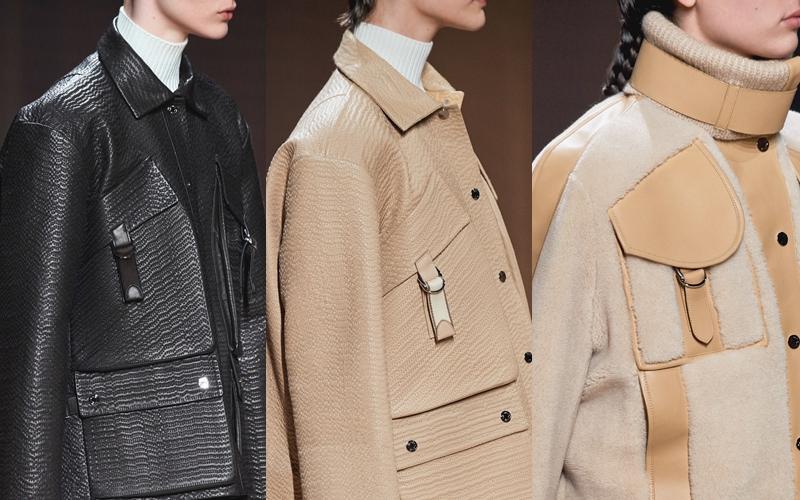 Những chiếc áo khoác bằng da hoặc được điểm xuyết các chi tiết da của Hermès.