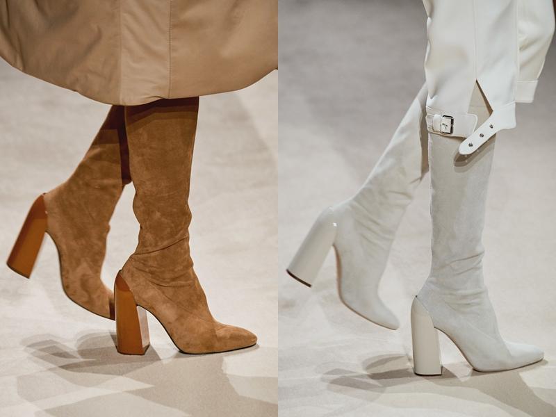 Boots cao gót bằng da lộn mềm mại và phần gót được xử lý tạo hiệu ứng như sơn mài thể hiện gu thẩm mỹ tinh tế, tinh thần duy mỹ tuyệt đối của những người thợ tại Hermès.