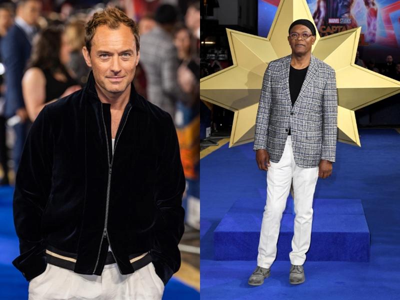 Bên cạnh dàn mỹ nhân lộng lẫy còn có các sao nam là Jude Law (trái) và Samuel Leroy Jackson.