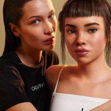 """Bella Hadid thản nhiên """"khóa môi"""" cô nàng KOL ảo Lil Miquela trong quảng cáo của Calvin Klein"""