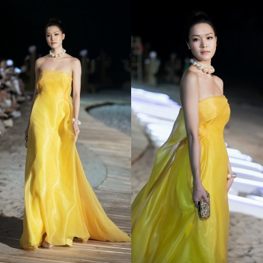 """Hoa hậu Thùy Dung hóa nàng thơ mở màn cho show diễn BST """"L'amant"""" của NTK Hoàng Minh Hà"""