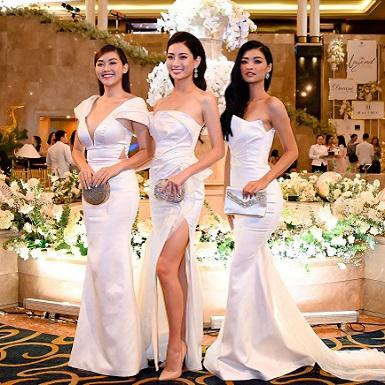 Hoa hậu Lương Thùy Linh diện váy cưới, rạng rỡ dự triển lãm cưới