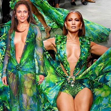 Jennifer Lopez kiêu hãnh với đầm xanh kinh điển, bùng nổ trên sàn diễn Versace Xuân Hè 2020