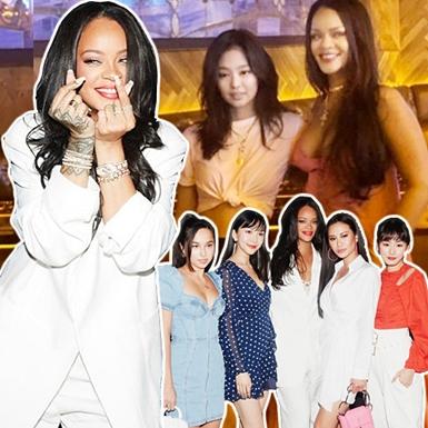 """Rihanna mặc cực xinh gặp gỡ Jennie (BLACKPINK), """"bắn tim"""" dễ thương tại sự kiện ở Hàn Quốc"""